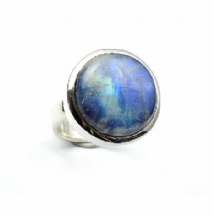 Round Rainbow Moonstone Ring Silver Large stone 'One-Off' size P